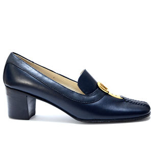 1970s Vintage Gucci Buckle Loafers Navy Blue 38AA
